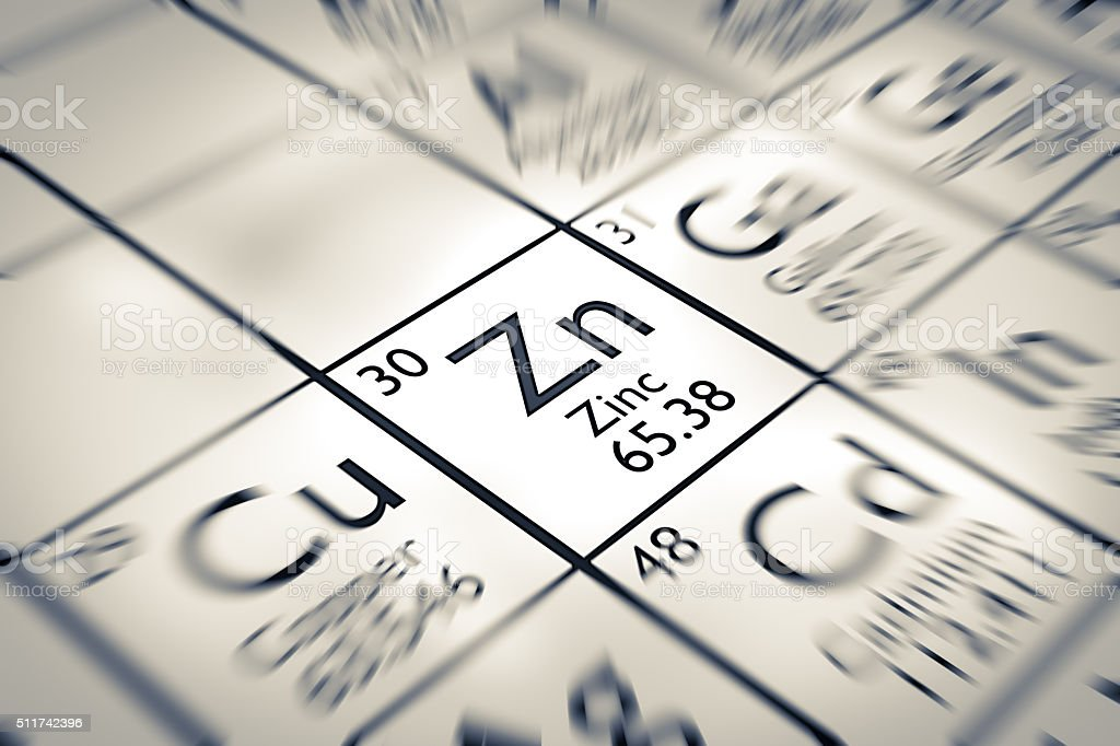 Focus on Zinc chemical element from the Mendeleev periodic table stock photo