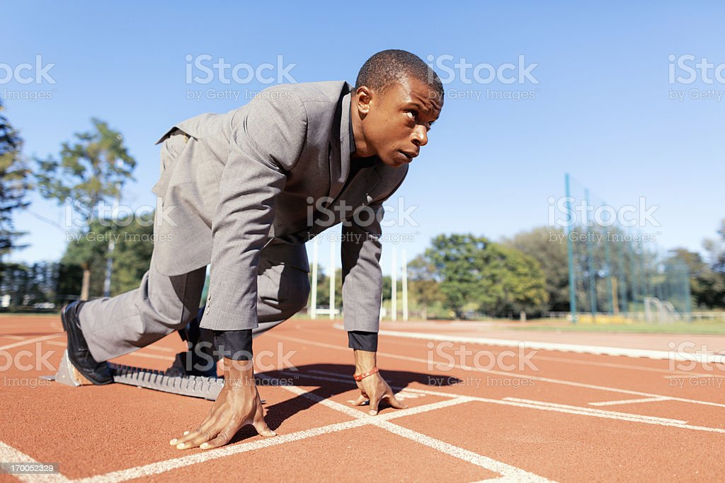 focused businessman ready for start stock photo