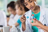 Focused medical student studies molecular model in class