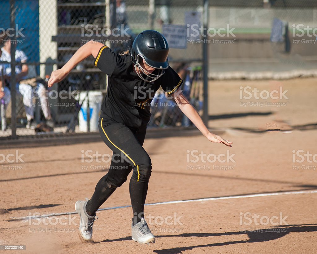 Focused on first base stock photo