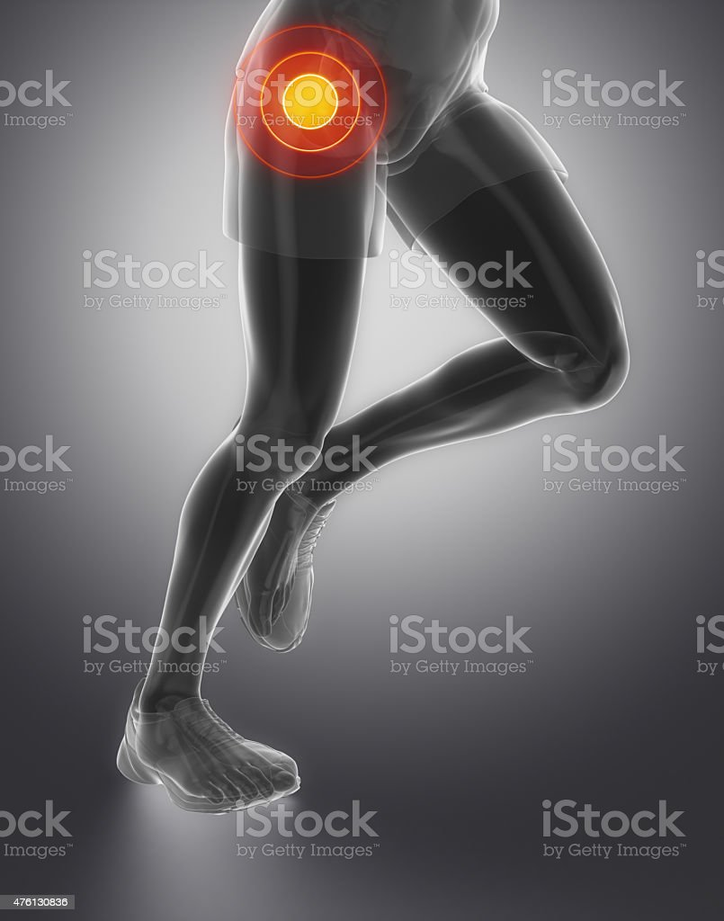 Focused on hip joint stock photo