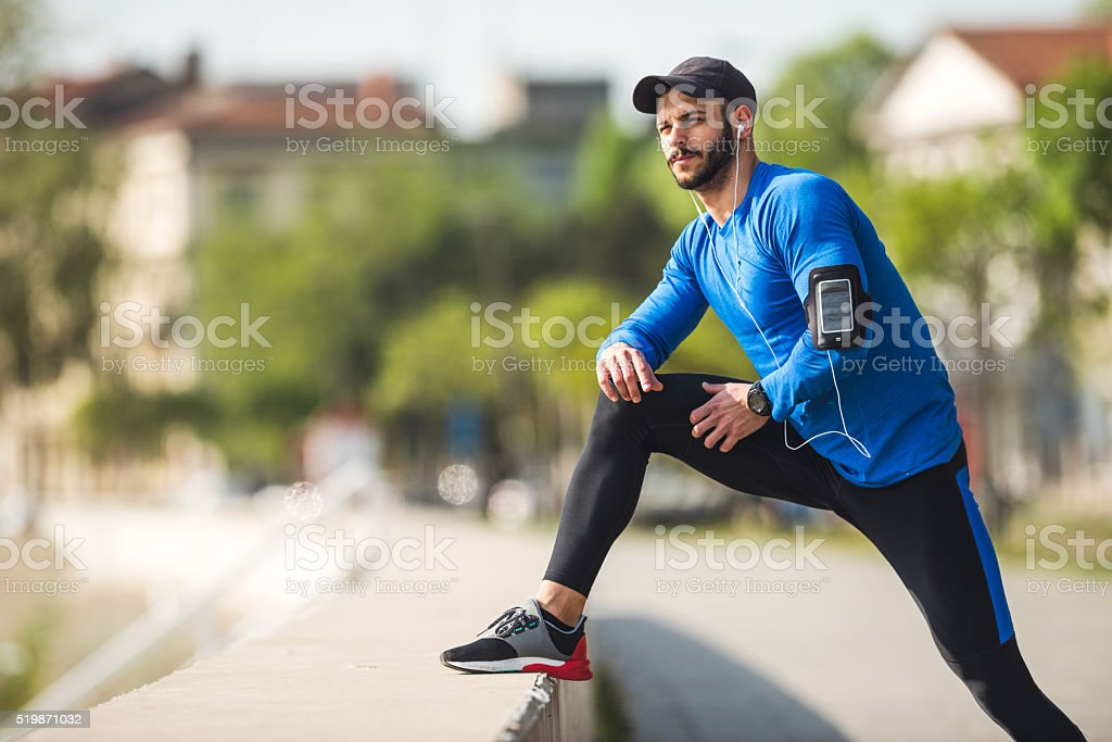 Focused on his fitness goals stock photo