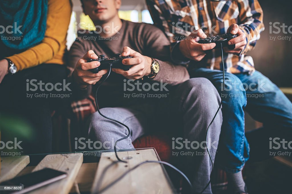 Focused on the game stock photo