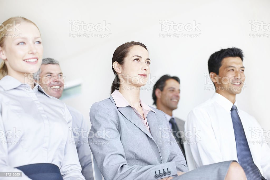 Focused on the presentation being given royalty-free stock photo