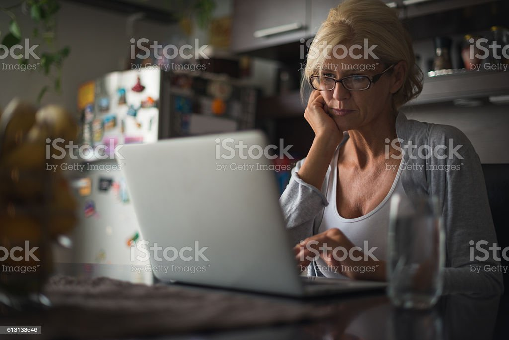 Focused on work stock photo