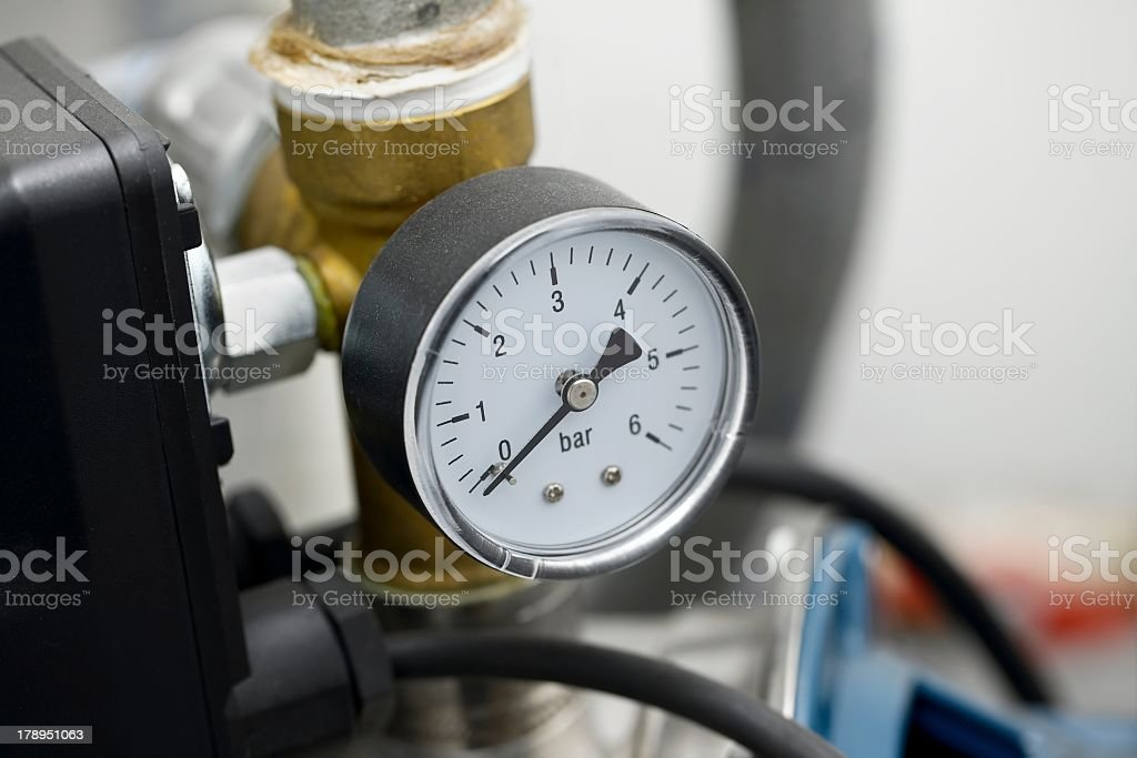 Focused shot of a compressor on 0 stock photo