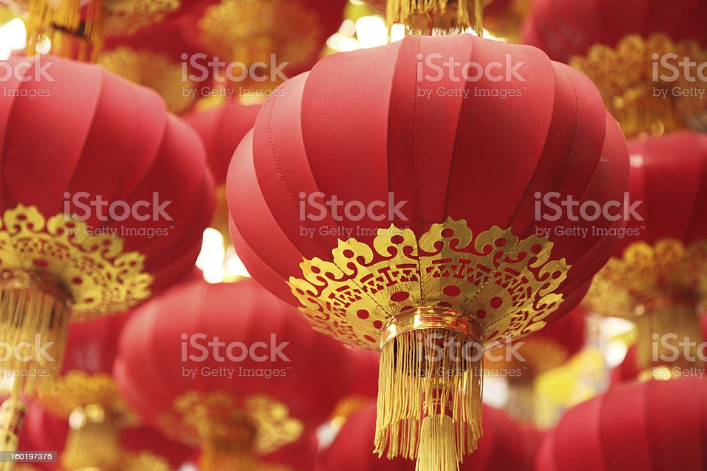 Focused shot of group of red Chinese lanterns stock photo