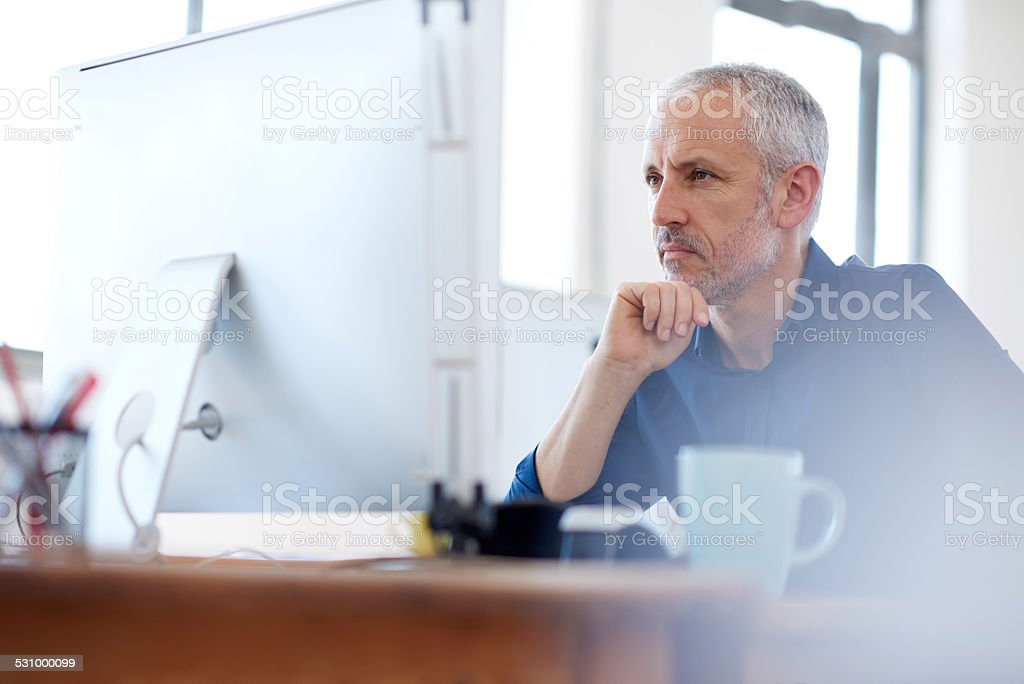 Focussed on insightful solution finding stock photo