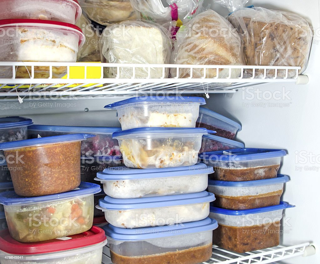 Fodo in Containers Inside a Home Freezer stock photo