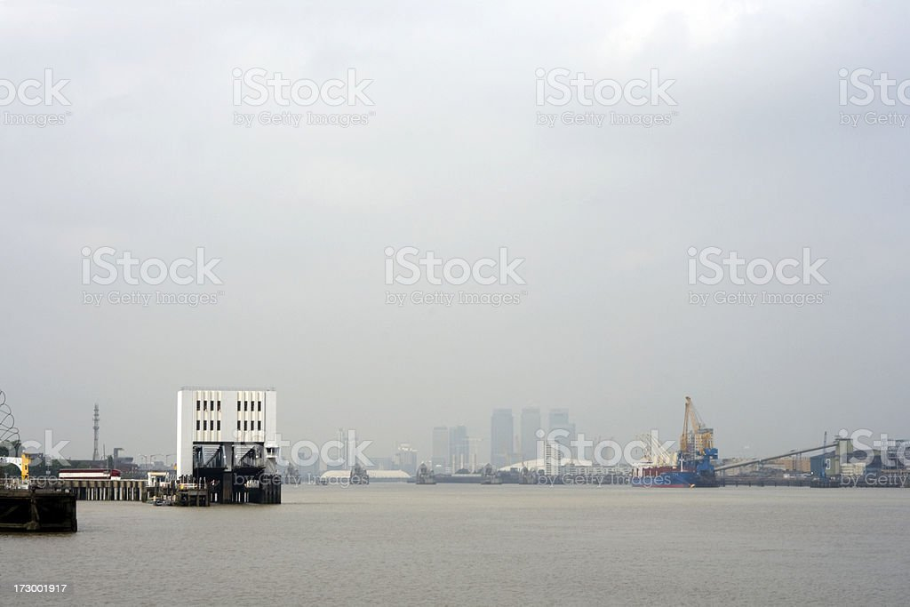Fog and ferry terminal at Woolwich stock photo