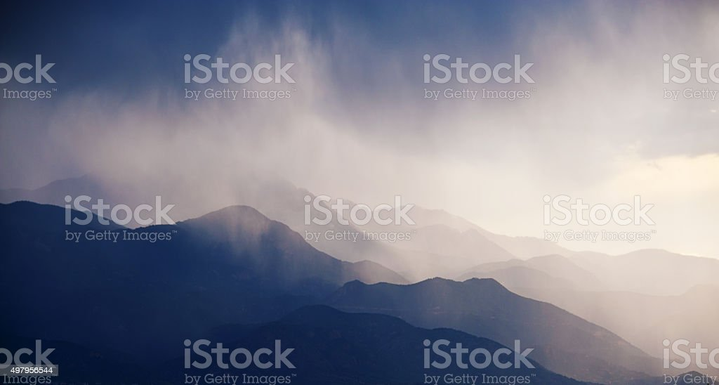 Fog and Rain in the Rocky Mountains stock photo