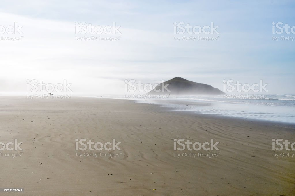 Fog and Surfer at Long Beach stock photo