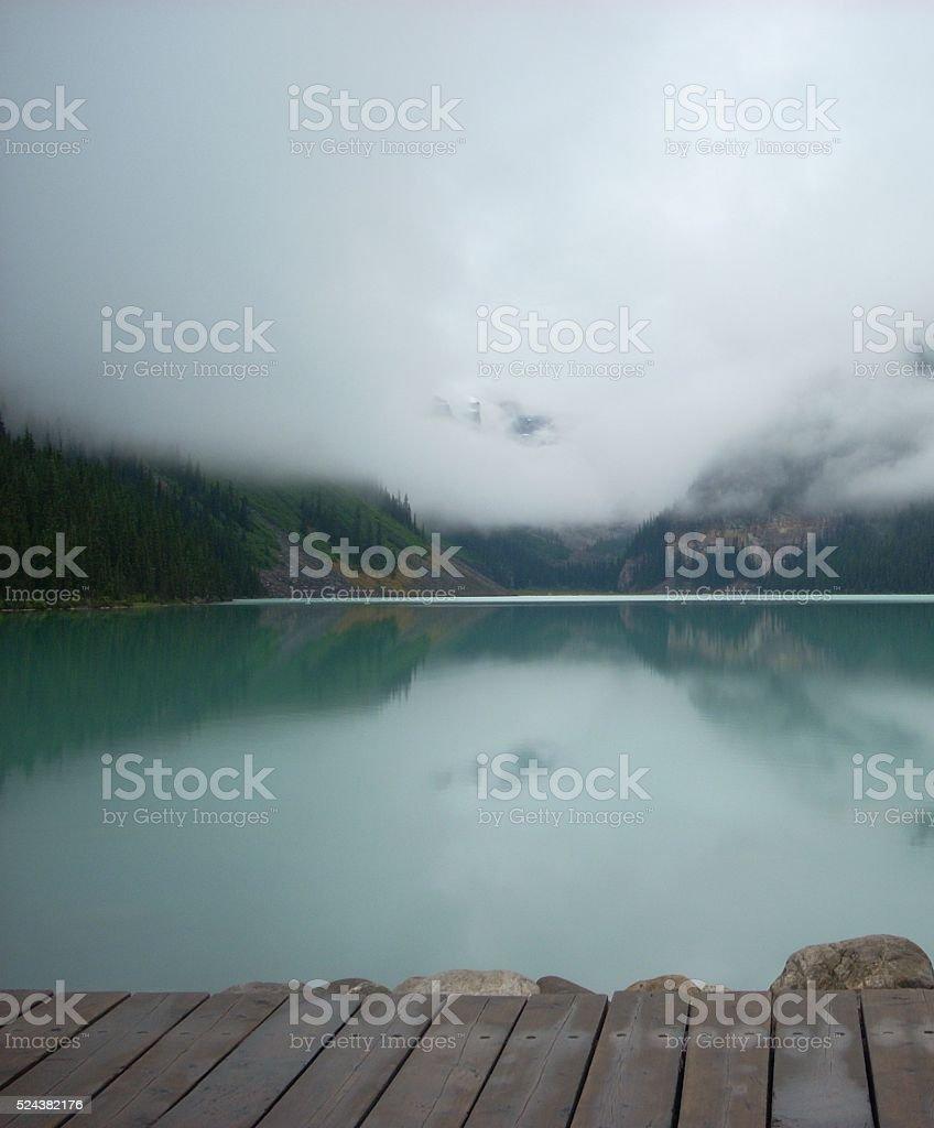 Fog at Lake Louise stock photo