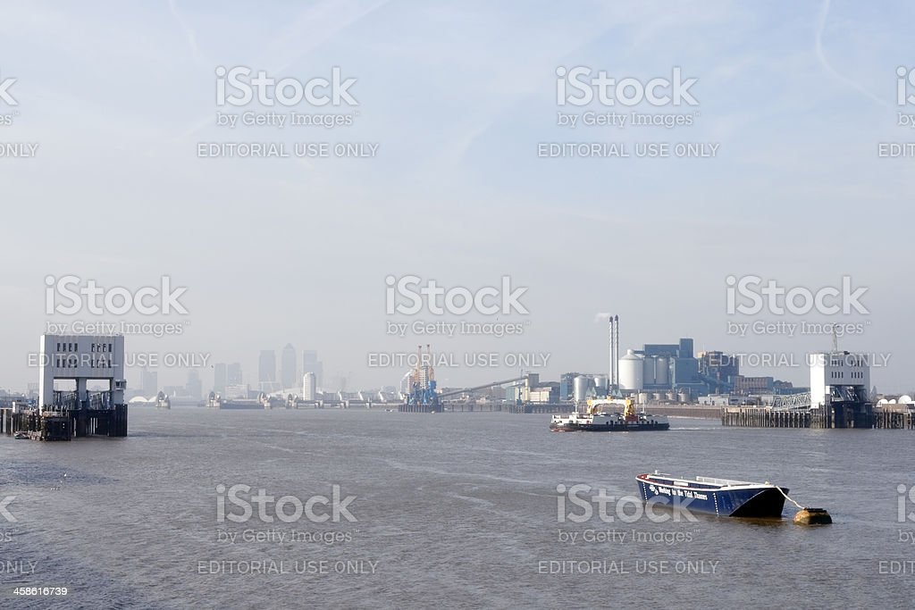 Fog at the Woolwich Ferry stock photo