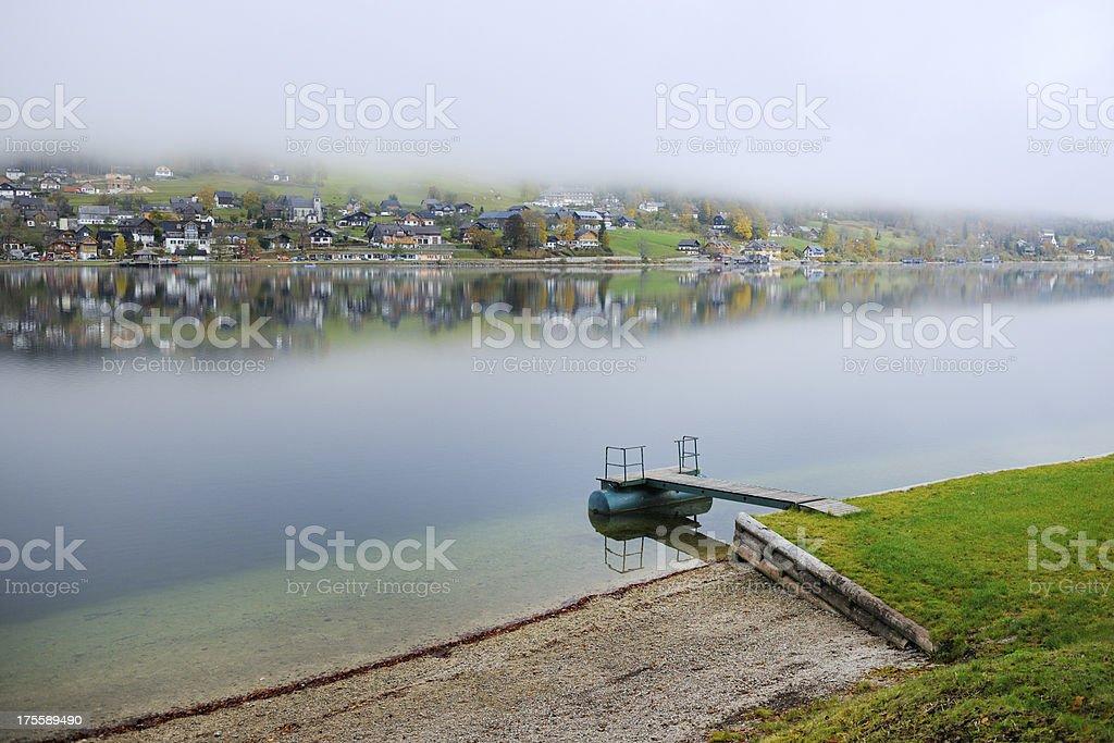 Fog Autumn Mountain Panorama, Lake Grundlsee, Austrian Alps stock photo