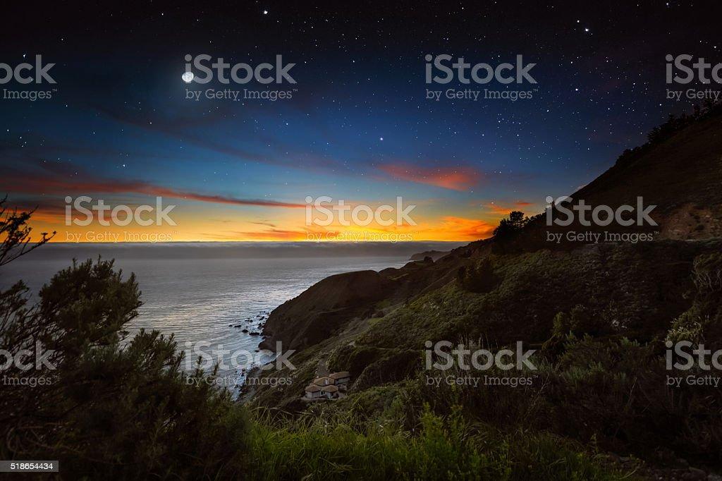 Fog bank above the ocean water off the California Coast stock photo