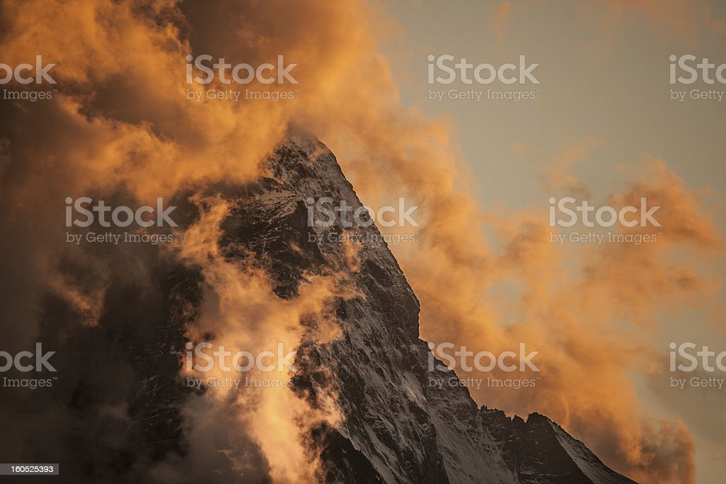 Fog covered Matterhorn at sunset. royalty-free stock photo