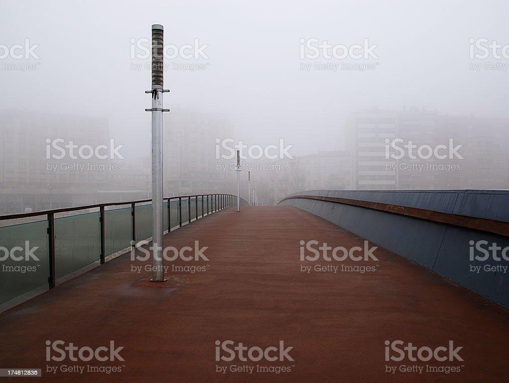 Fog Footbridge royalty-free stock photo