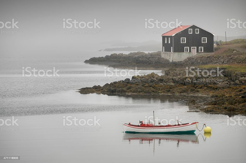 Fog, house and ship royalty-free stock photo