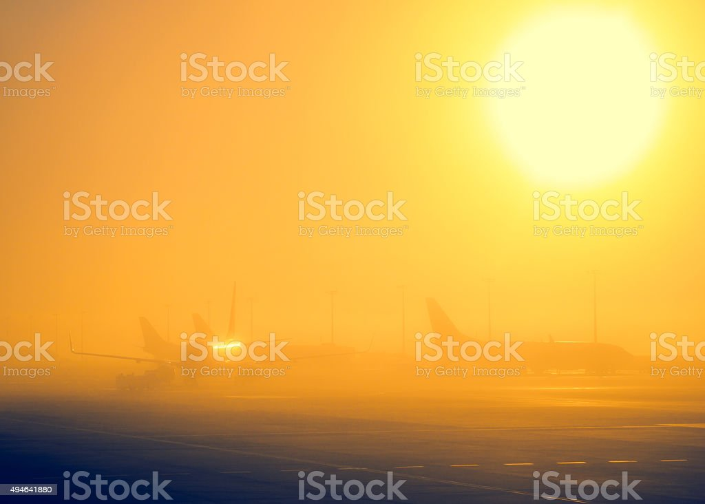 Fog in airport stock photo
