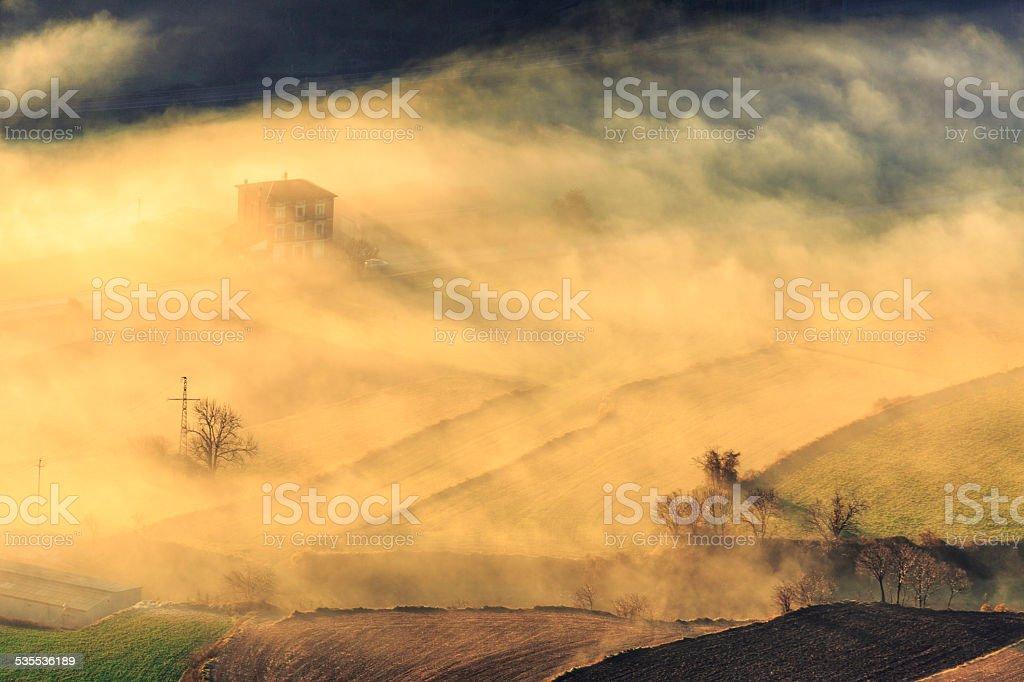 Fog in Berga stock photo
