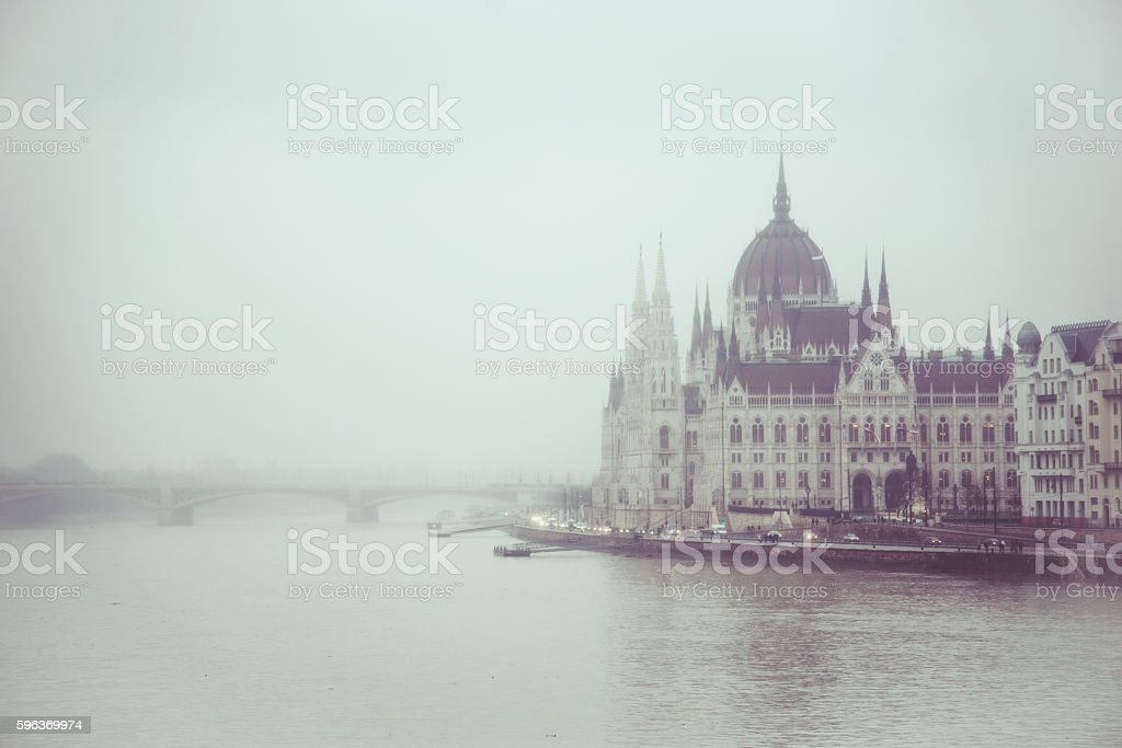 Fog in Budapest stock photo