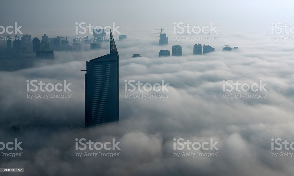 Fog in Dubai Marina stock photo
