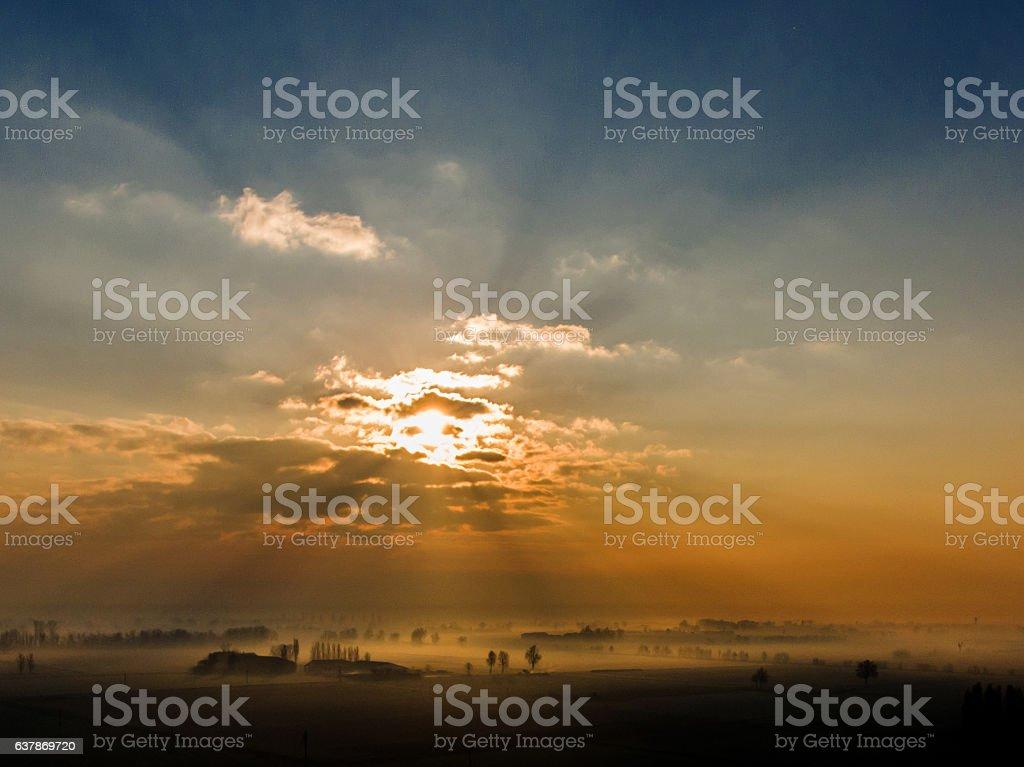 Fog in Po Valley stock photo