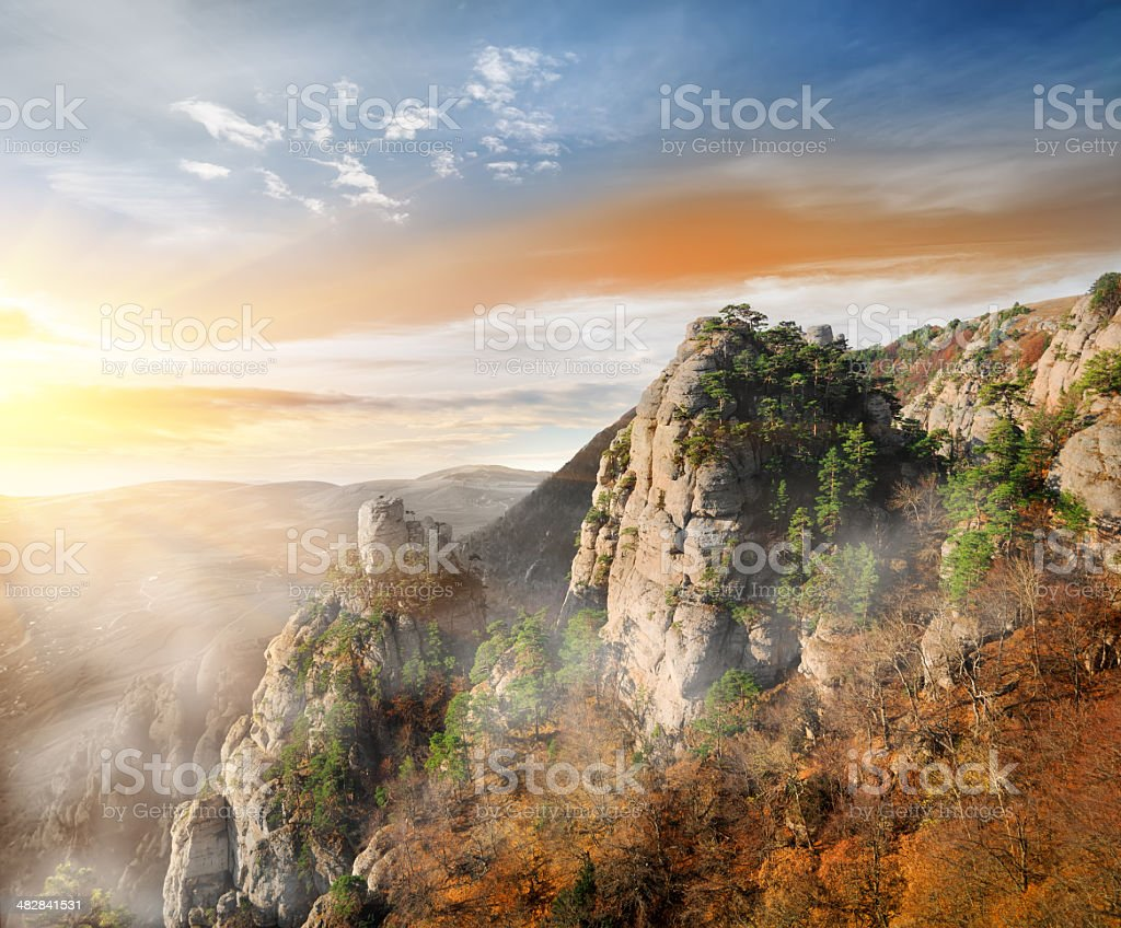 Fog in the mountain canyon royalty-free stock photo