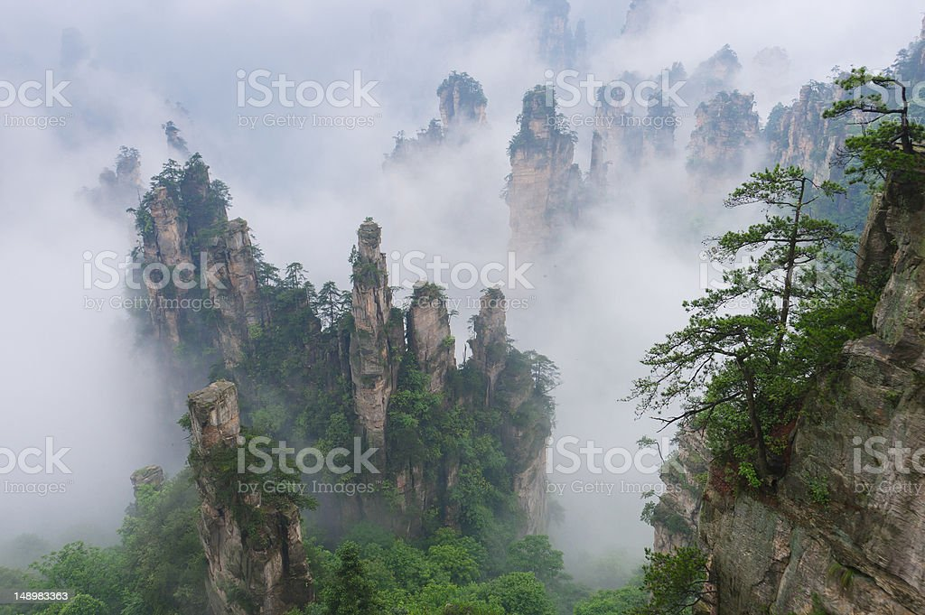 Fog in the mountains of Wulingyuan Scenic Area stock photo