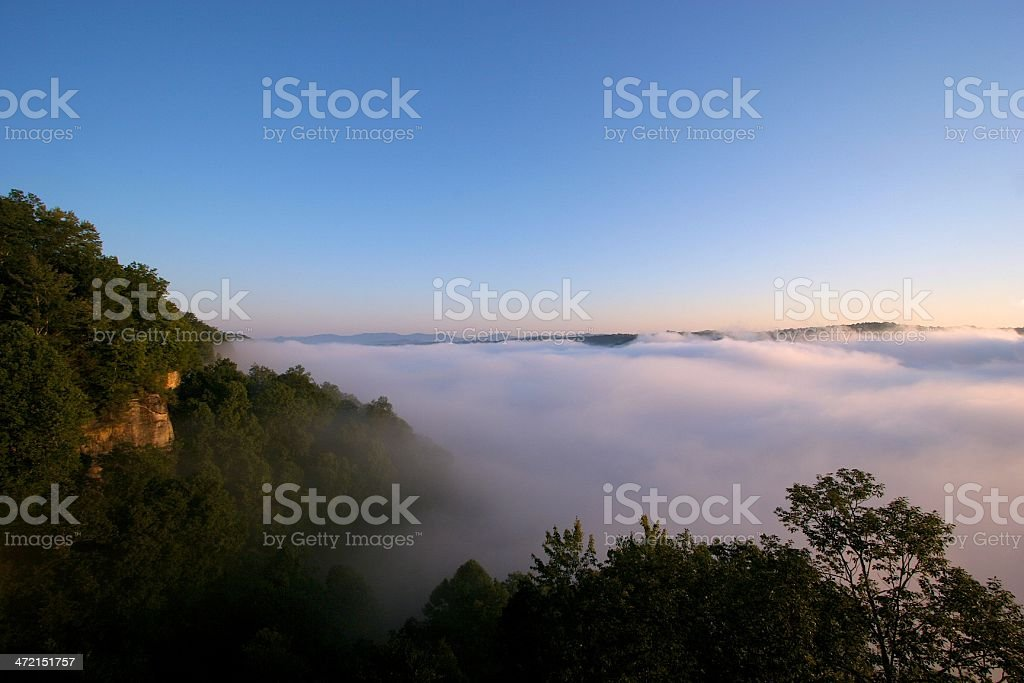 Fog in the New River Gorge stock photo