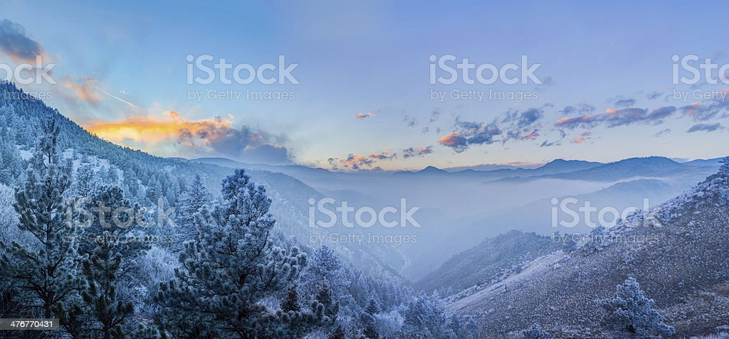 Fog in the Valley, Fire in the Sky stock photo