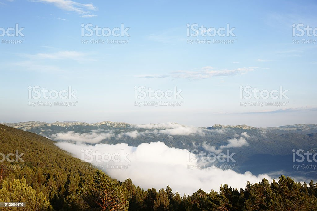 Fog in the valley. stock photo