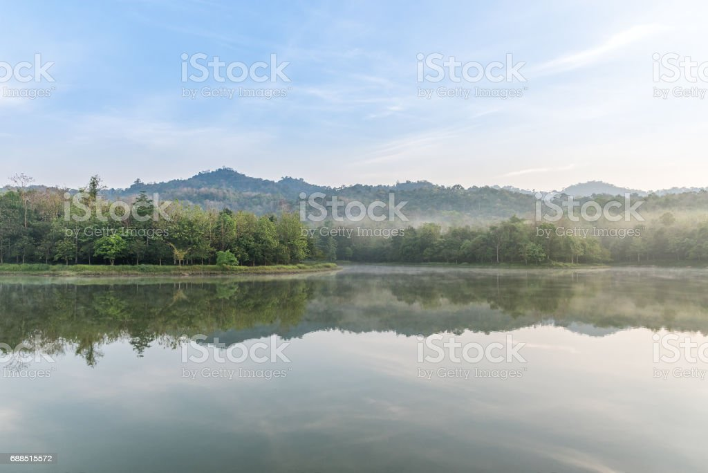 Fog is covered Lake and rainforest on cloudy morning. stock photo