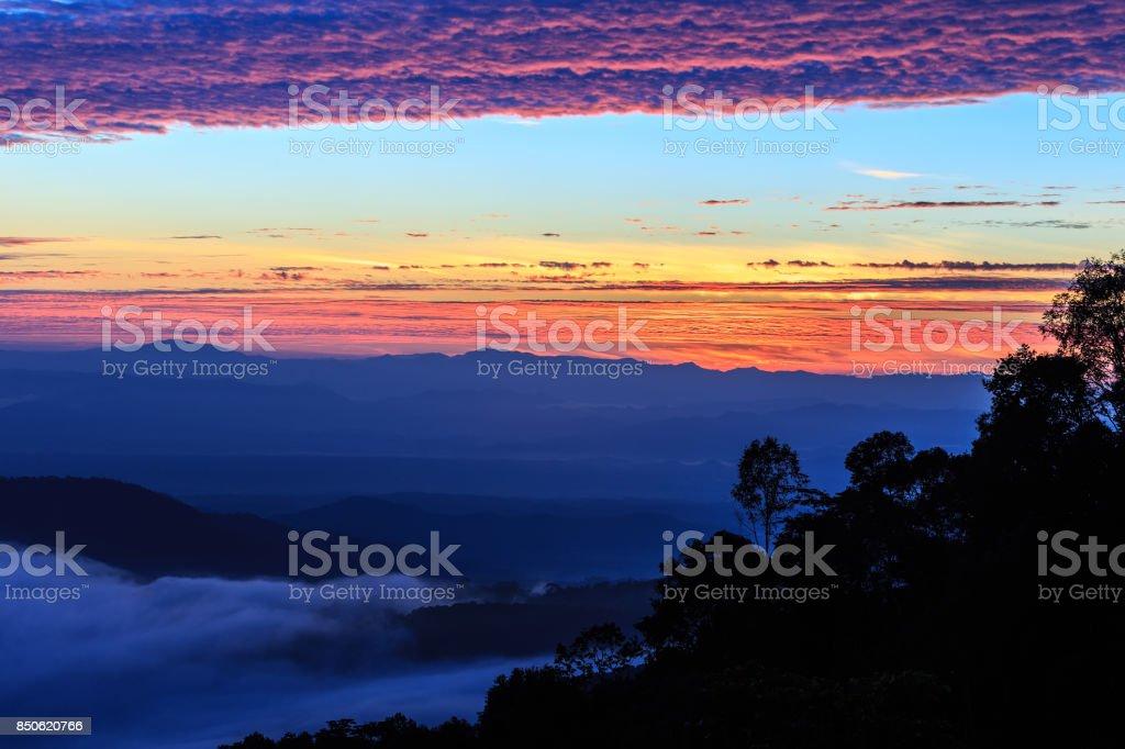 Fog Landscape , Sunrise mornings landscape , Chiang Mai Thailand stock photo