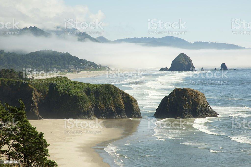 Fog Lifting from Crescent Beach, Oregon Coast stock photo