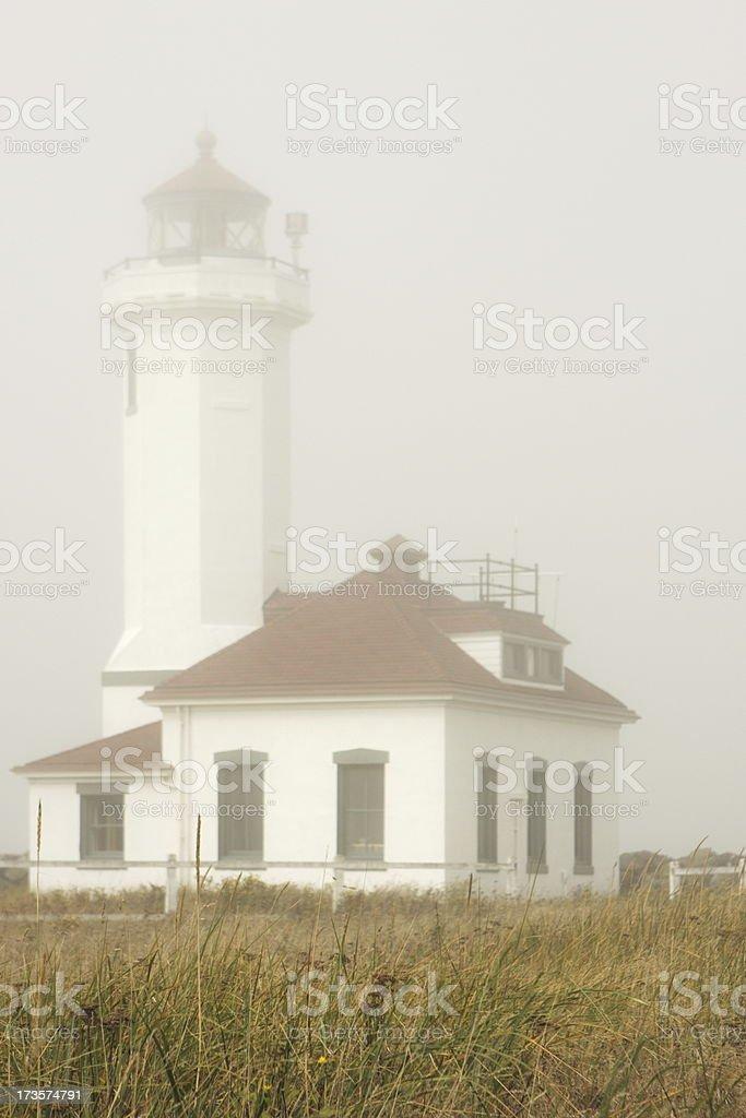 Fog Lighthouse Point Wilson Fort Worden stock photo