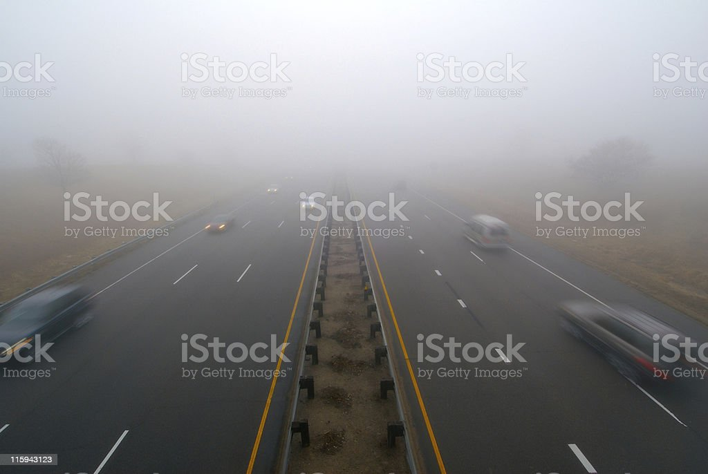 Fog on highway royalty-free stock photo