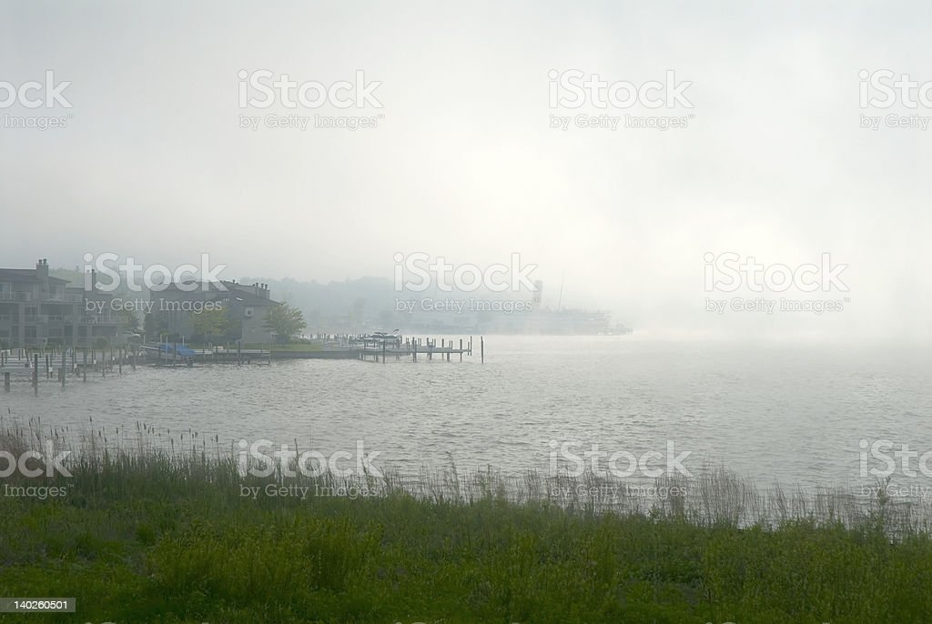 Fog on Lake Kalamazoo royalty-free stock photo