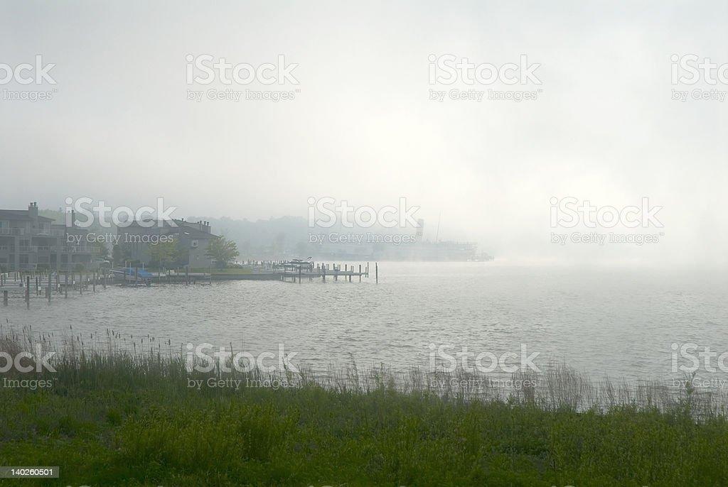 Fog on Lake Kalamazoo stock photo