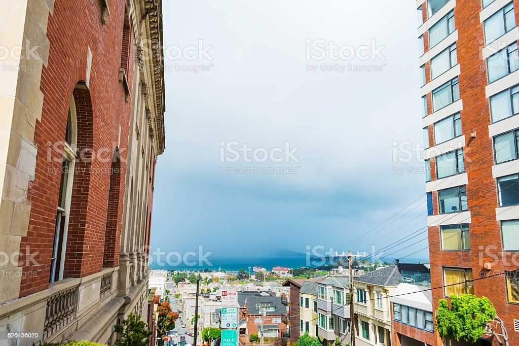 Fog on San Francisco bay seen from the city stock photo