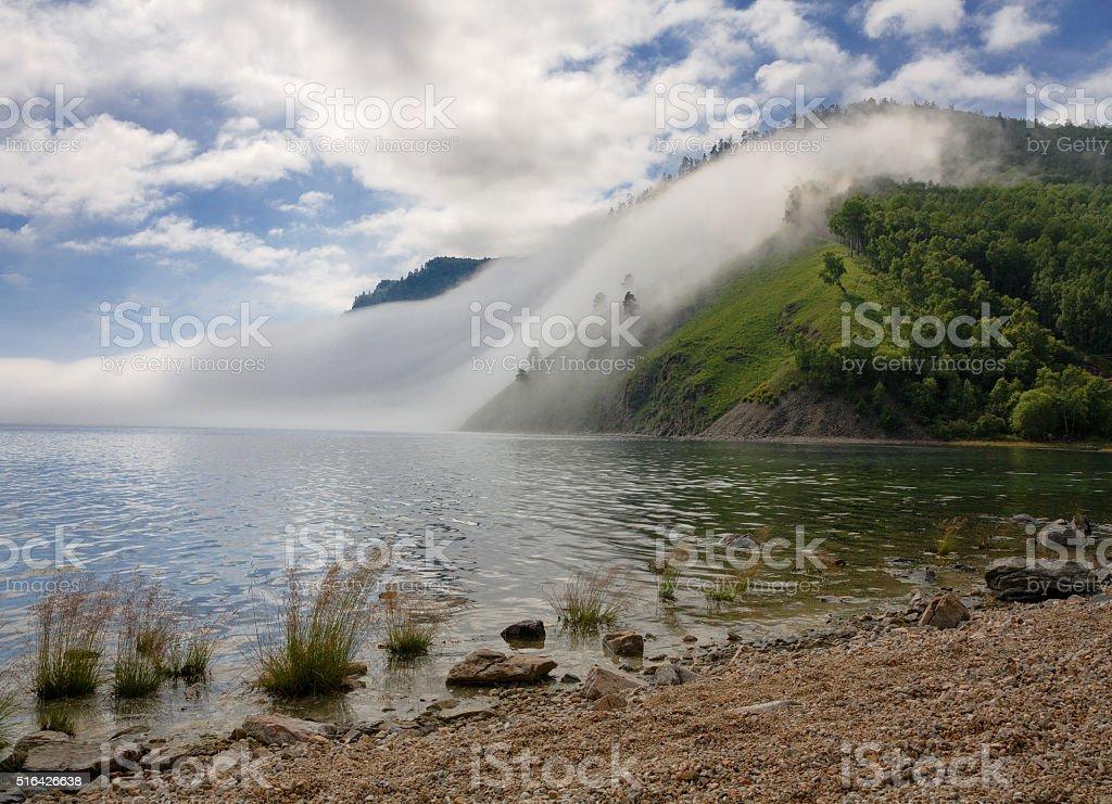 Fog on the Baikal Railway stock photo