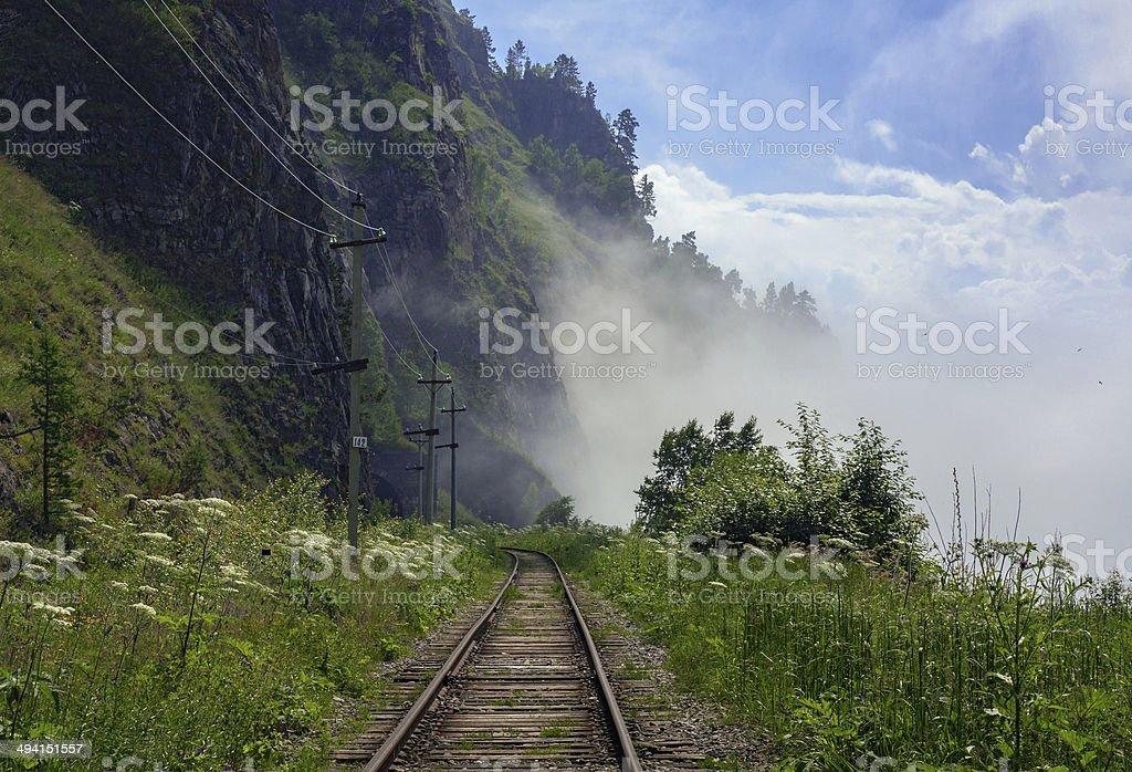 Fog on the Circum-Baikal stock photo