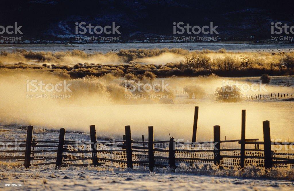 Fog On The Farm royalty-free stock photo