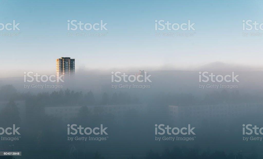 fog on the morning city street stock photo