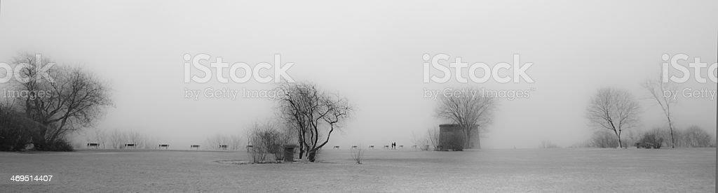 Fog on the Plaines d'Abraham stock photo