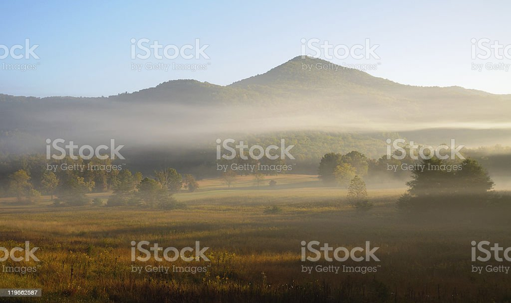 fog over Cades Cove in the Great Smoky Mountains royalty-free stock photo