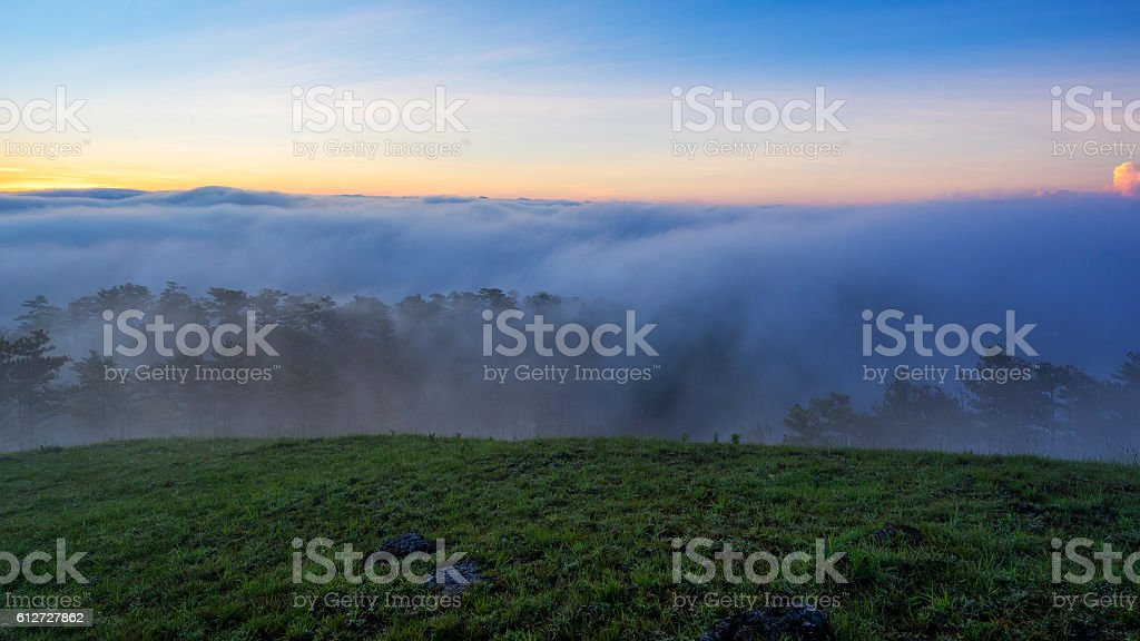 Fog over mountain and forest on sunrise at Da Lat stock photo