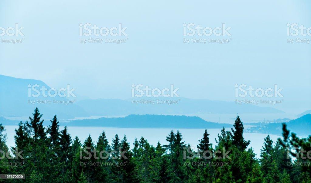 Fog over Norwegian fjord royalty-free stock photo
