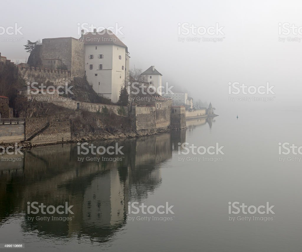 Fog over Passau, Lower Bavaria, Germany stock photo